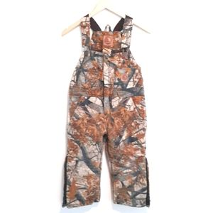 BERNE CAMO INSULATED OVERALLS SZ XS 2 TO 4